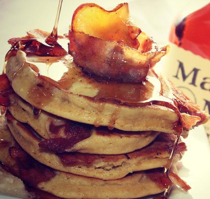 Carousel apple bacon bourbon pancakes