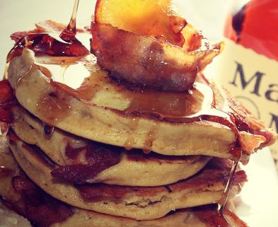 Medium apple bacon bourbon pancakes