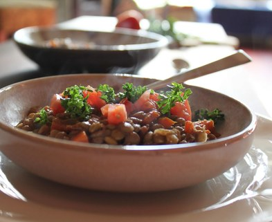 Medium lentil stew salad