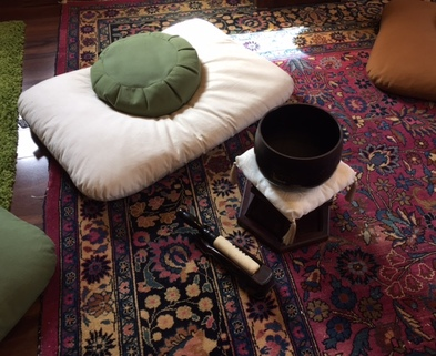 Medium meditation cushion and bell