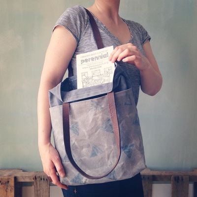 Carousel waxed canvas tote bag