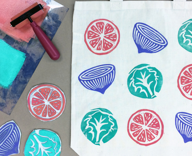 Medium block print bag