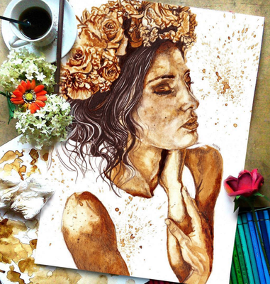 Carousel beautiful and stunning coffee stain painting by nuriamarq