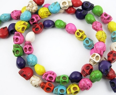 Medium 1 string 39cm length 8mm mixed turquoise skull stone beads skull loose beads skull beads strand