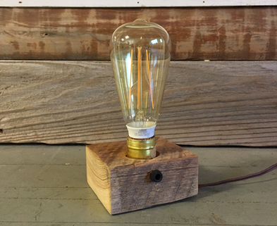 Medium 1 wood block lamp