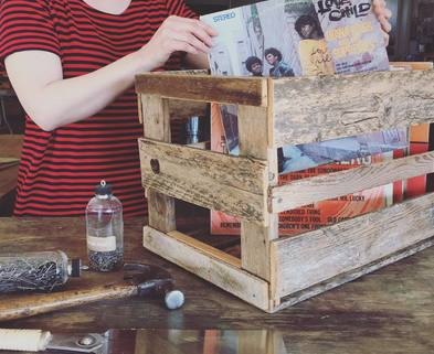 Medium rustic record crates