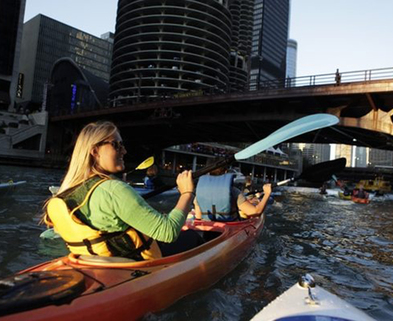 Medium sunset paddle dabble chicago wateriders kayak canoe rental
