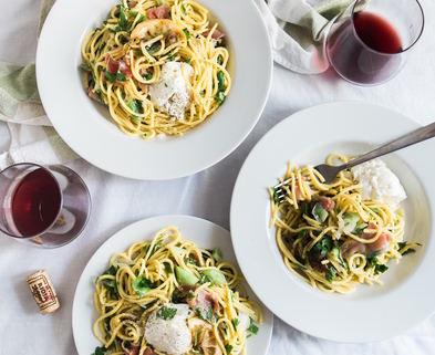 Medium pasta   wine