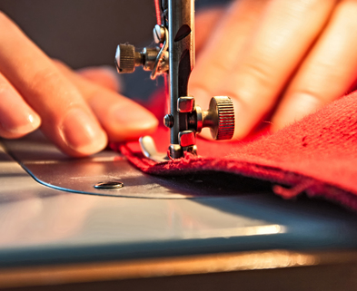 Medium hands sewing with machine