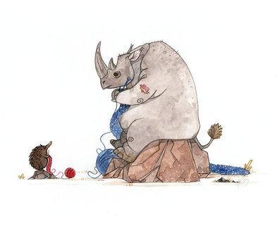 Medium rhino teaching echidna to knit by morganobrienart