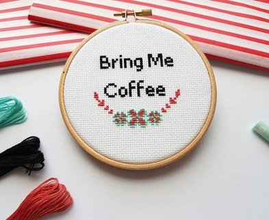 Medium bring me coffee cross stitch hoop 26