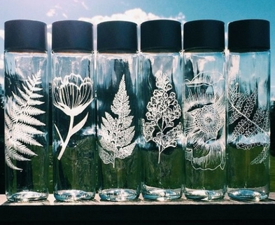 Medium etched glass water bottles 640x533