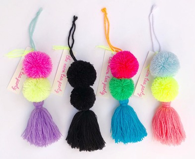 Medium the neon tea party pom pom tassel bag charms