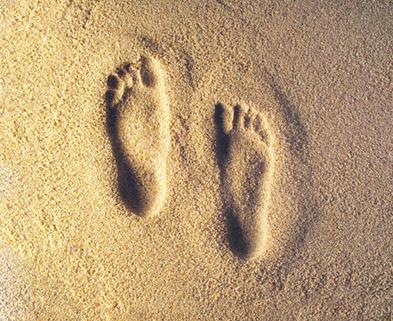 Medium footprints in the sand