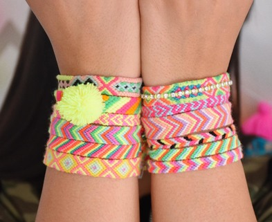 Medium the neon tea party friendship bracelet square