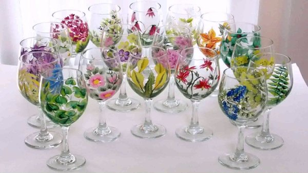 Carousel painted wine glasses