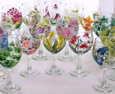 Medium painted wine glasses