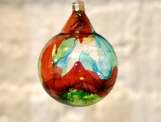 Carousel alcohol ink blown glass ornaments dabble chicago glass collective