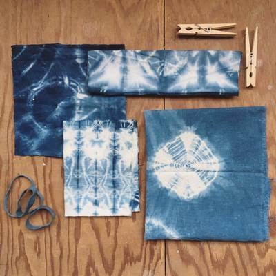 Carousel shibori dyeing samples