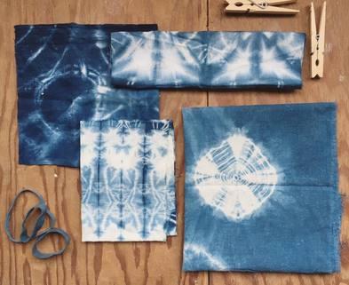 Medium shibori dyeing samples