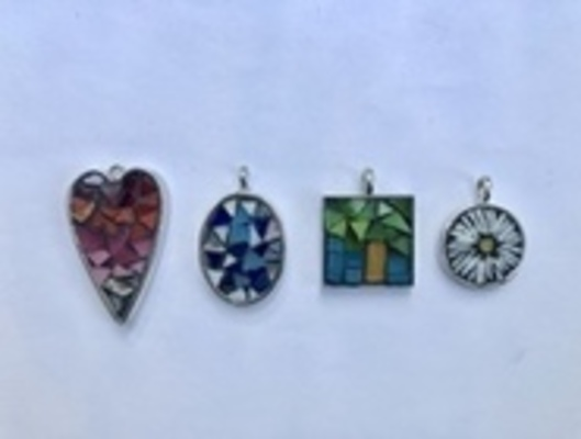 Carousel small mosaic pendants dabble colorado denver little glass art 2