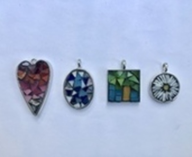 Medium small mosaic pendants dabble colorado denver little glass art 2