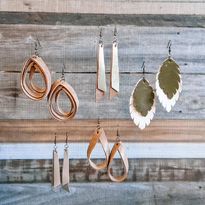 Carousel leather earrings