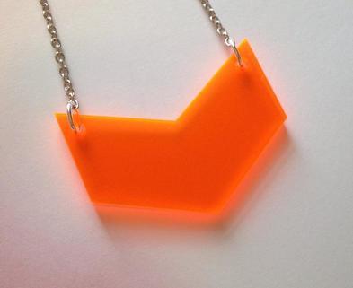 Medium neon orange chevron necklace