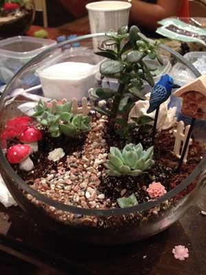 Carousel fairy garden terrarium