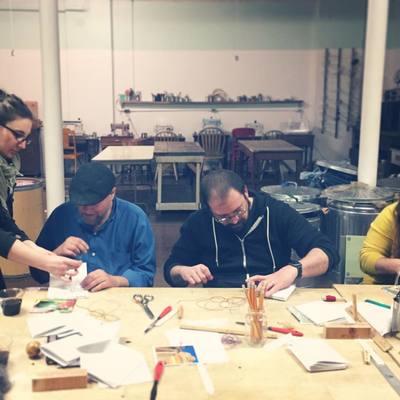 Carousel coptic stitch bookbinding class