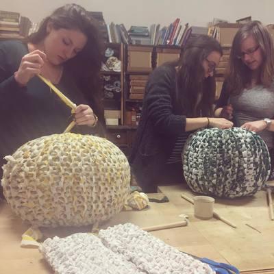 Carousel knitted ottoman pouf class