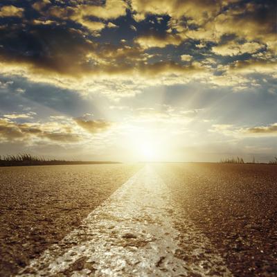 Carousel sunrise over highway