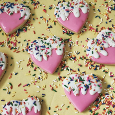 Carousel royal icing funfetti dripping hearts