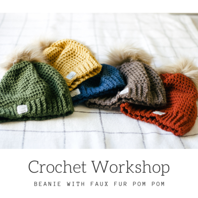 Carousel crochet workshopbeanie with faux fur pom 2