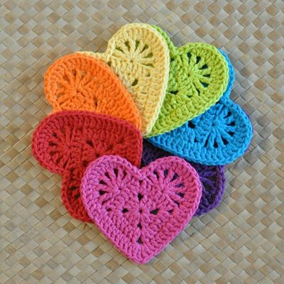 Carousel pdf granny heart coaster n motif crochet pattern