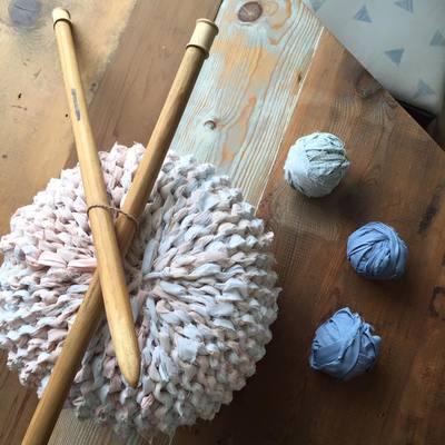 Carousel knitted ottoman poufs