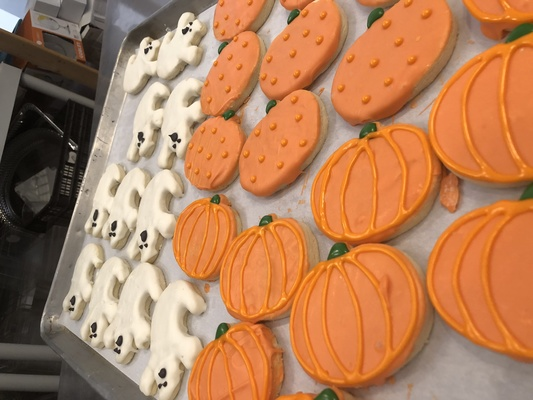 Carousel pumpkin and ghost royal icing cookies
