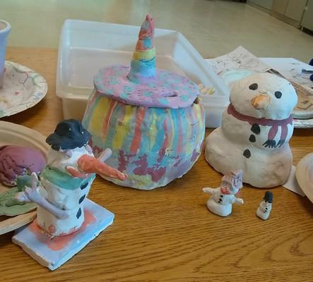 Carousel clay club art 2019 snowmen unicorn box