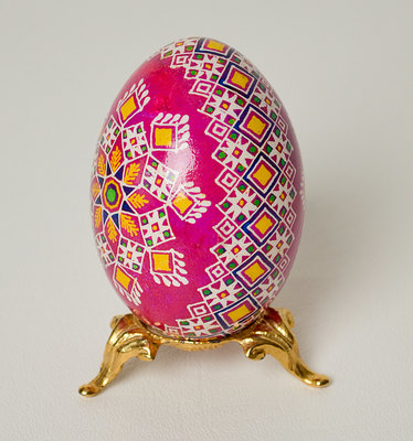 Carousel pretty on pink ukrainian duck pysanka