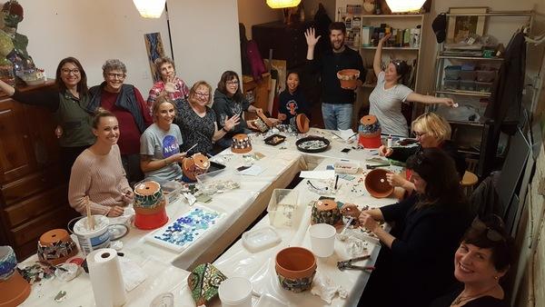 Carousel mosaic class students
