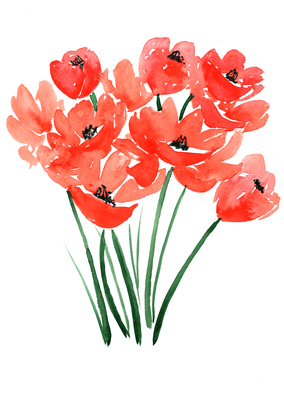 Carousel poppies red