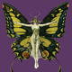Small square butterfly woman artnuveau golden