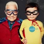 Small square boy and grandpa