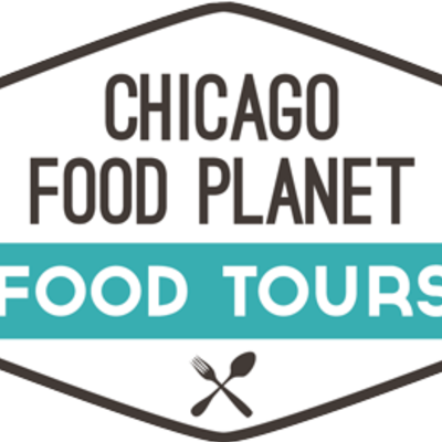 Big square chicago food planet logo outlined