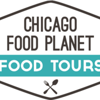 Medium square chicago food planet logo outlined